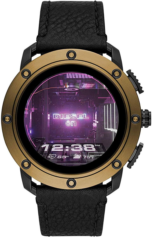DIESEL Axial Smartwatch Bronze Stainless Steel and Black Leather DZT2016