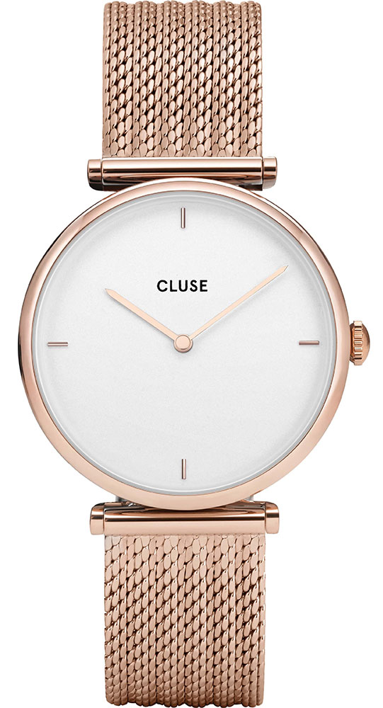 CLUSE TRIOMPHE MESH ROSE GOLD  WHITE GIFT BOX CG0108208001